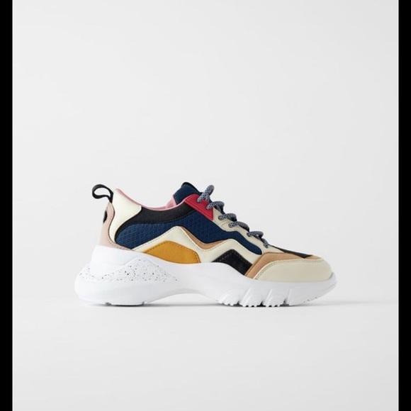 Zara Multicolored Sneakers Sz 9 Women